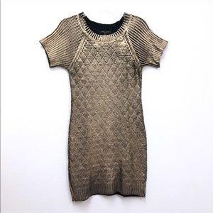 Romeo & Juliet Couture Metallic Gold Sweater Dress